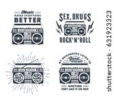 hand drawn 90s themed set of... | Shutterstock .eps vector #631923323