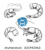 hand drawn sketch style seafood ...   Shutterstock .eps vector #631942463