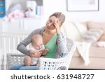 depressed young woman with cute ... | Shutterstock . vector #631948727