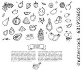 hand drawn doodle fruits icons... | Shutterstock .eps vector #631952603