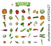 hand drawn doodle vegetables... | Shutterstock .eps vector #631952627