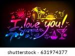 neon lettering i love you...   Shutterstock .eps vector #631974377