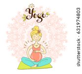 pregnant woman in lotus... | Shutterstock .eps vector #631974803