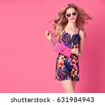 fashion blond model in sexy... | Shutterstock . vector #631984943