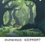 forest landscape with trees ... | Shutterstock .eps vector #631990097