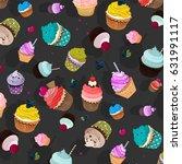 vector sweet food pattern....   Shutterstock .eps vector #631991117