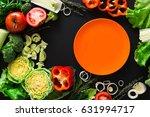 healthy vegetable food on black ... | Shutterstock . vector #631994717