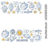 space  satellite  moon  stars ...   Shutterstock .eps vector #632003183