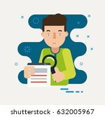 programmer  looking through a... | Shutterstock .eps vector #632005967
