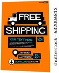 free shipping poster with truck ... | Shutterstock .eps vector #632006813