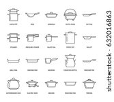 pot  pan and steamer line icons.... | Shutterstock .eps vector #632016863