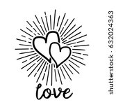 doodle hearts love pattern with ... | Shutterstock .eps vector #632024363