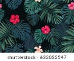 seamless hand drawn botanical... | Shutterstock .eps vector #632032547