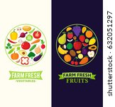 vector vegetables and fruits... | Shutterstock .eps vector #632051297