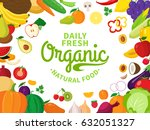 vector vegetables and fruits... | Shutterstock .eps vector #632051327