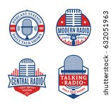 vector radio logo. music icons... | Shutterstock .eps vector #632051963