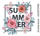 Stock vector summer background withr abstract paper flowers floral background blank round frame greeting 632055983