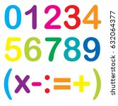 cute number and icon math with... | Shutterstock .eps vector #632064377