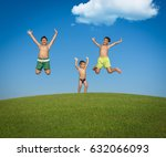 children on the summer grass... | Shutterstock . vector #632066093