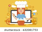 stock vector illustration chef... | Shutterstock .eps vector #632081753