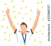 athlete with medal celebrates... | Shutterstock .eps vector #632088557