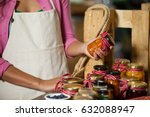 mid section of staff checking... | Shutterstock . vector #632088947