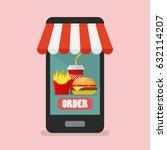 order fast food online concept. ... | Shutterstock .eps vector #632114207