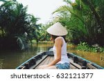 a young woman in a vietnamese... | Shutterstock . vector #632121377