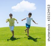 children running on the grass... | Shutterstock . vector #632124413