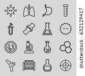 biology icons set. set of 16... | Shutterstock .eps vector #632129417