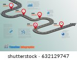 design template  road map... | Shutterstock .eps vector #632129747