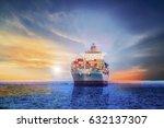 cargo ship container logistics... | Shutterstock . vector #632137307