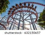 roller coaster track on... | Shutterstock . vector #632150657