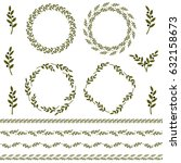 set of green vector olive... | Shutterstock .eps vector #632158673