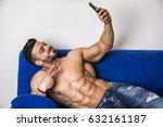 handsome shirtless muscular...   Shutterstock . vector #632161187