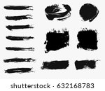 set of black paint  ink brush... | Shutterstock .eps vector #632168783