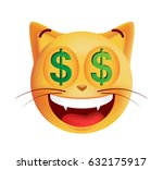 cute rich emoticon cat on white ... | Shutterstock .eps vector #632175917