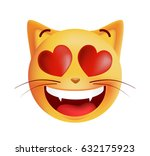 in love cute emoticon cat on... | Shutterstock .eps vector #632175923
