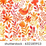 watercolor texture with flowers ... | Shutterstock . vector #632185913