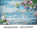 spring blooming branches on... | Shutterstock . vector #632193497