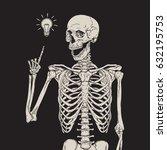human skeleton has an idea... | Shutterstock .eps vector #632195753