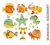 cartoon underwater world with...   Shutterstock .eps vector #632206697