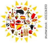 spain background in shape of... | Shutterstock .eps vector #632226353