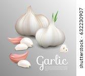fresh natural garlic concept... | Shutterstock .eps vector #632230907