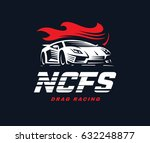 sport car logo illustration on... | Shutterstock . vector #632248877
