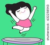 happy girl jumping on... | Shutterstock .eps vector #632258543