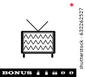 tv icon flat. simple black...