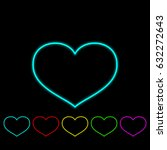 set of outline hearts with... | Shutterstock . vector #632272643