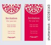 vintage invitation and wedding... | Shutterstock .eps vector #632281163