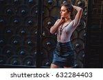 beautiful worried girl waiting... | Shutterstock . vector #632284403